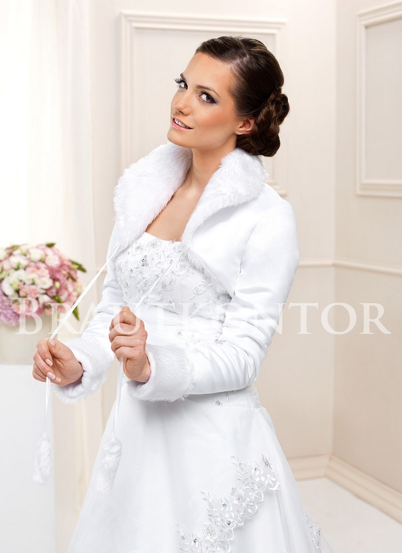 bkf287 brautjacke satin fell bolero warm hochzeit weiss. Black Bedroom Furniture Sets. Home Design Ideas