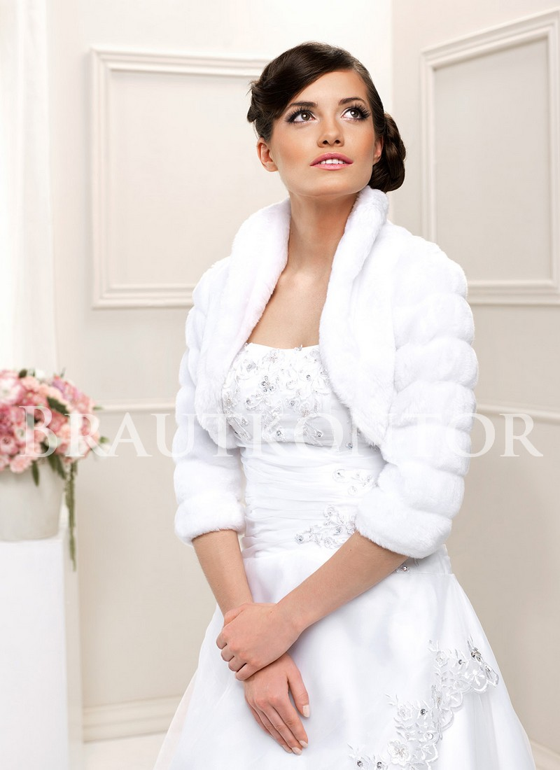 sale warme brautjacke fell bolero hochzeit winter weiss. Black Bedroom Furniture Sets. Home Design Ideas
